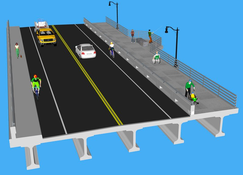 The final design for the new bridge between Portland and Falmouth incorporates features based on public feedback. The plans show a generous amount of space for people who are not behind the wheel.