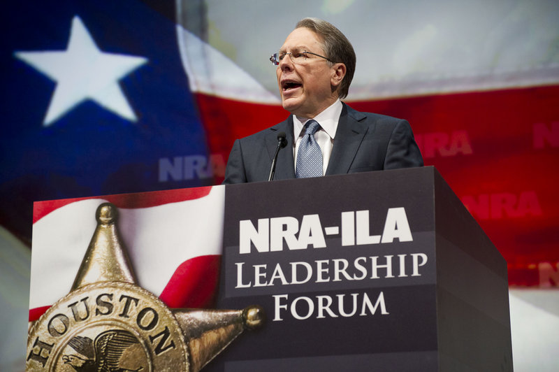 NRA Executive Vice President and Chief Executive Officer Wayne LaPierre speaks during the leadership forum at the National Rifle Association's annual meeting Friday in Houston, where thousands have gathered.