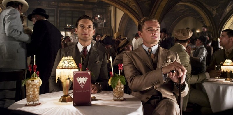 """Tobey Maguire as Nick Carraway and Leonardo DiCaprio as Jay Gatsby in Baz Luhrmann's """"The Great Gatsby."""""""