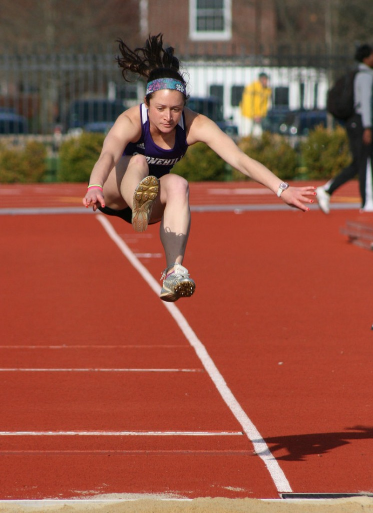 Maria Curit set a number of track records at Biddeford High School, and continues to set records while competing at Stonehill College in Easton, Mass., where she is a sophomore.