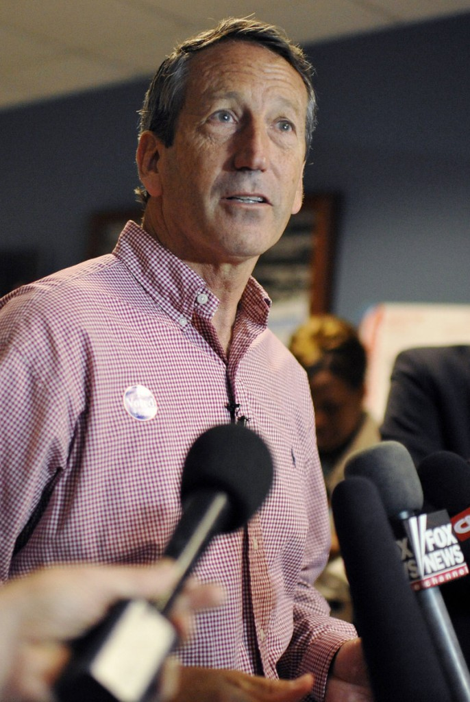 Mark Sanford speaks to media after voting Tuesday in the special election that returned him to Congress.