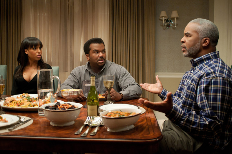 """Kerry Washington as Grace Peeples, Craig Robinson as Wade Walker and David Alan Grier as Virgil Peeples in a scene from """"Peeples,"""" opening Friday."""