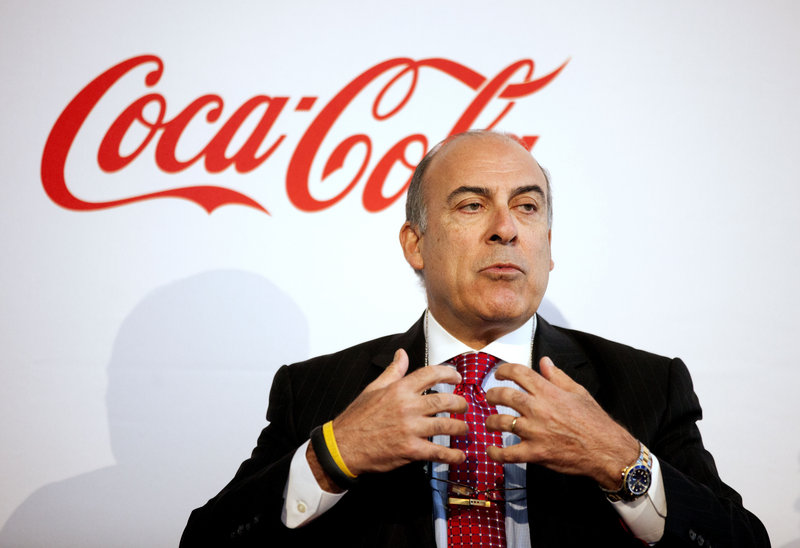 Coca-Cola CEO Muhtar Kent speaks Wednesday in Atlanta as the company marked its 127th birthday.