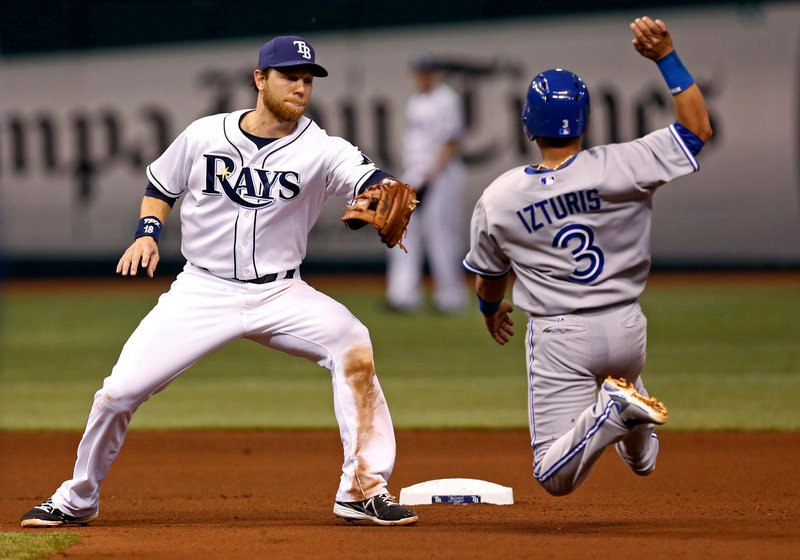 Ben Zobrist, second baseman for Tampa Bay, waits to put the tag on Toronto's Maicer Izturis, in a strike-'em-out, throw-'em-out double play during the Rays' 5-4 win Thursday.