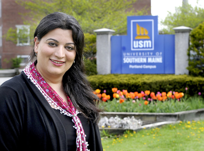 """Roya Hejabian, on the University of Southern Maine's Portland campus: """"I've always looked at education as a great tool to get to a destination."""""""