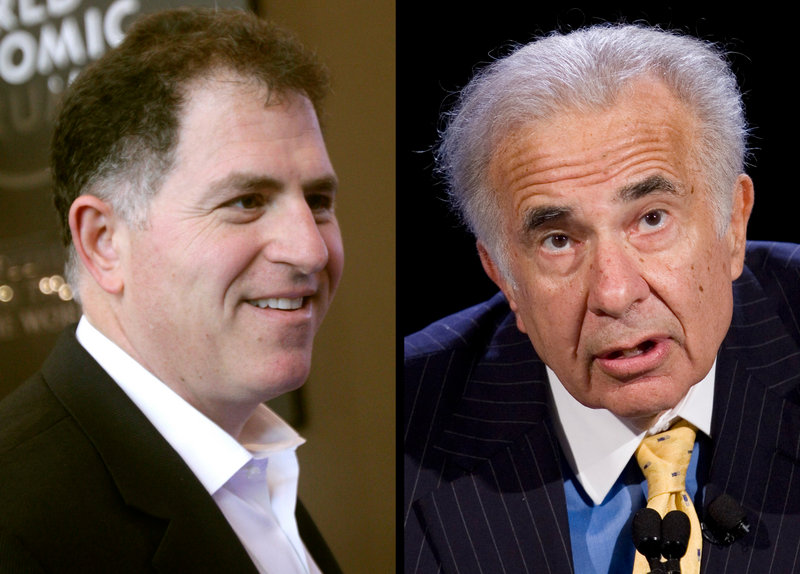 Carl Icahn, right, has launched a challenge to Michael Dell's plan to take his company private.