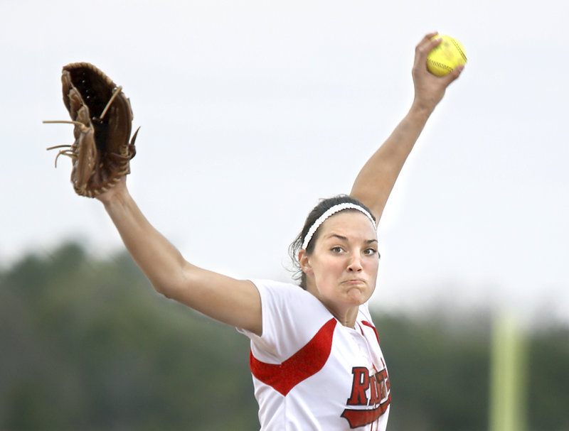 Erin Bogdanovich, one of the better softball pitchers in the state, tossed a two-hit shutout Friday as South Portland downed Marshwood, 3-0.