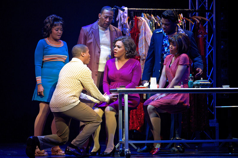 """A dramatic moment in the musical """"Dreamgirls,"""" running June 5-22 at Maine State Music Theatre."""