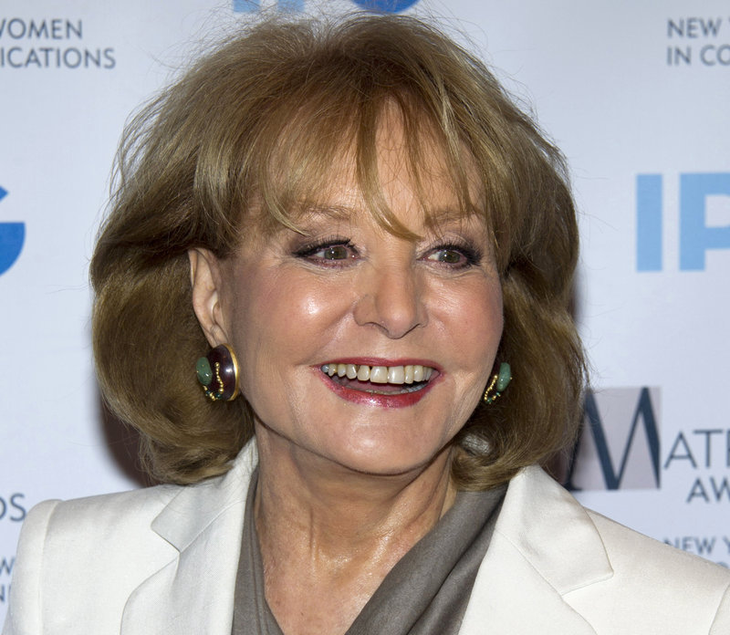 """Veteran ABC newswoman Barbara Walters arrives at the Matrix Awards in New York. Walters said Monday on """"The View"""" that she will retire from TV journalism during the summer of 2014."""