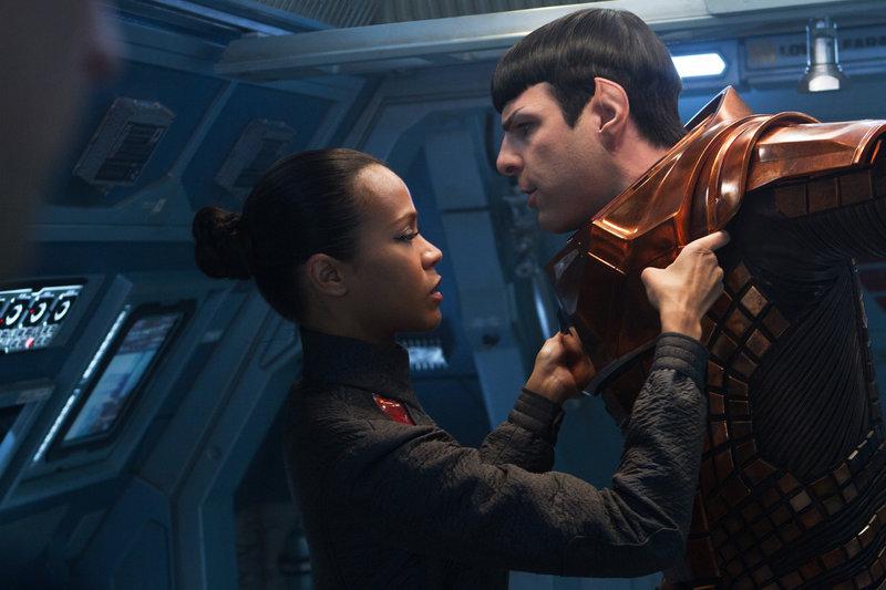 "Zoe Saldana as Uhura is emotionally attached to Zachary Quinto as Spock in J.J. Abrams' new ""Star Trek"" film."