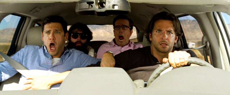 """From left, Justin Bartha as Doug, Zach Galifianakis as Alan, Ed Helms as Stu and Bradley Cooper as Phil in """"The Hangover Part III."""""""