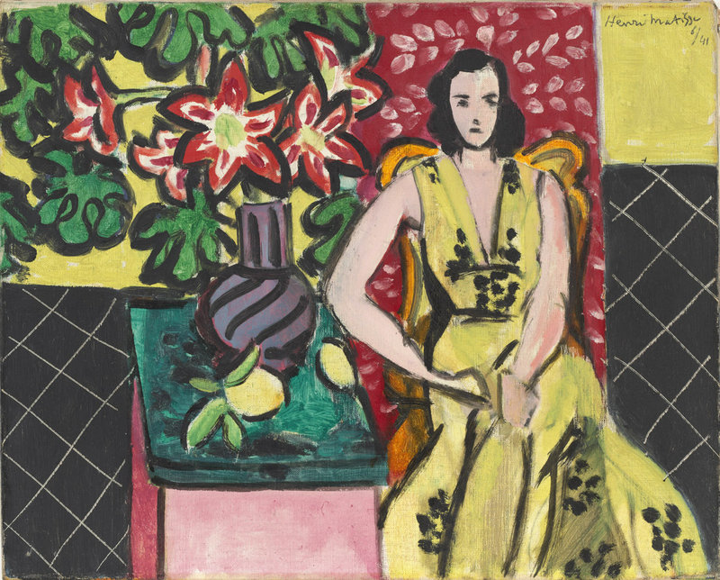 """""""Seated Woman with a Vase of Narcissus,"""" 1941 oil on canvas by Henri Matisse, from the exhibition """"A Taste of Modernism – The William S. Paley Collection,"""" continuing through Sept. 8 at the Portland Museum of Art."""
