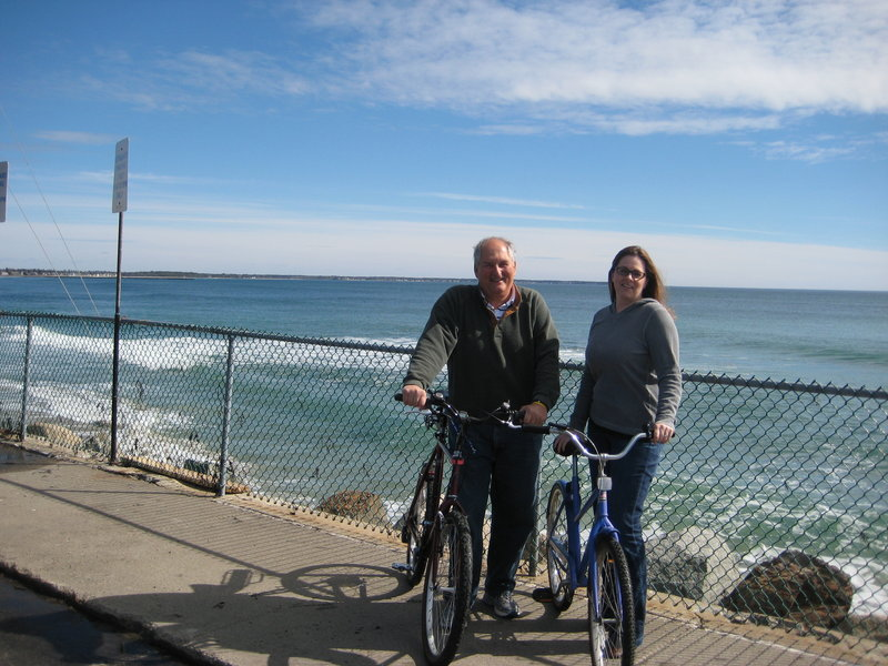 Ride volunteers Jennifer Beadnell, with the American Cancer Society, and Mike Fairweather, with the Beach Bike Ride for Charity, train for the Annual Beach Bike Ride for Charity, set for June 15 on the Wells coast.