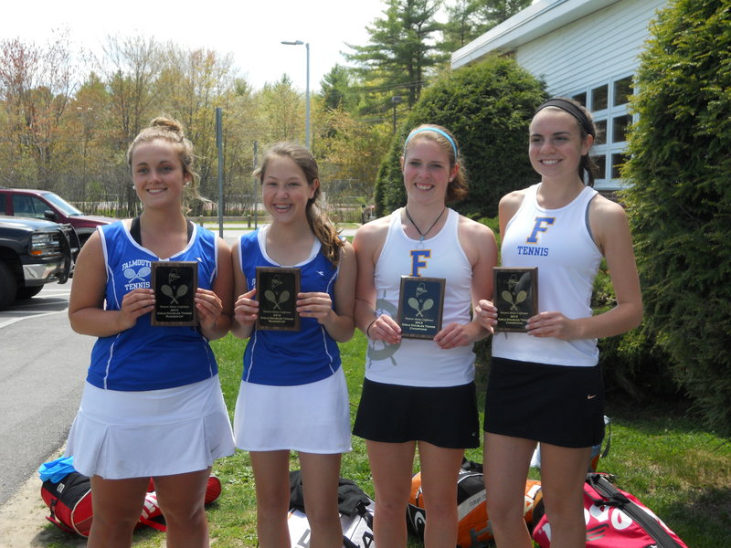 Falmouth's Katie Carew, from left, and Caroline Ray don't like losing a doubles match, but at least it was to teammates Abby Payson and Kate Ryan in the Western Maine Conference.