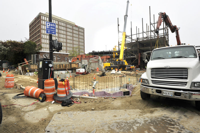 The Hyatt Place hotel is going up on Fore Street in Portland.