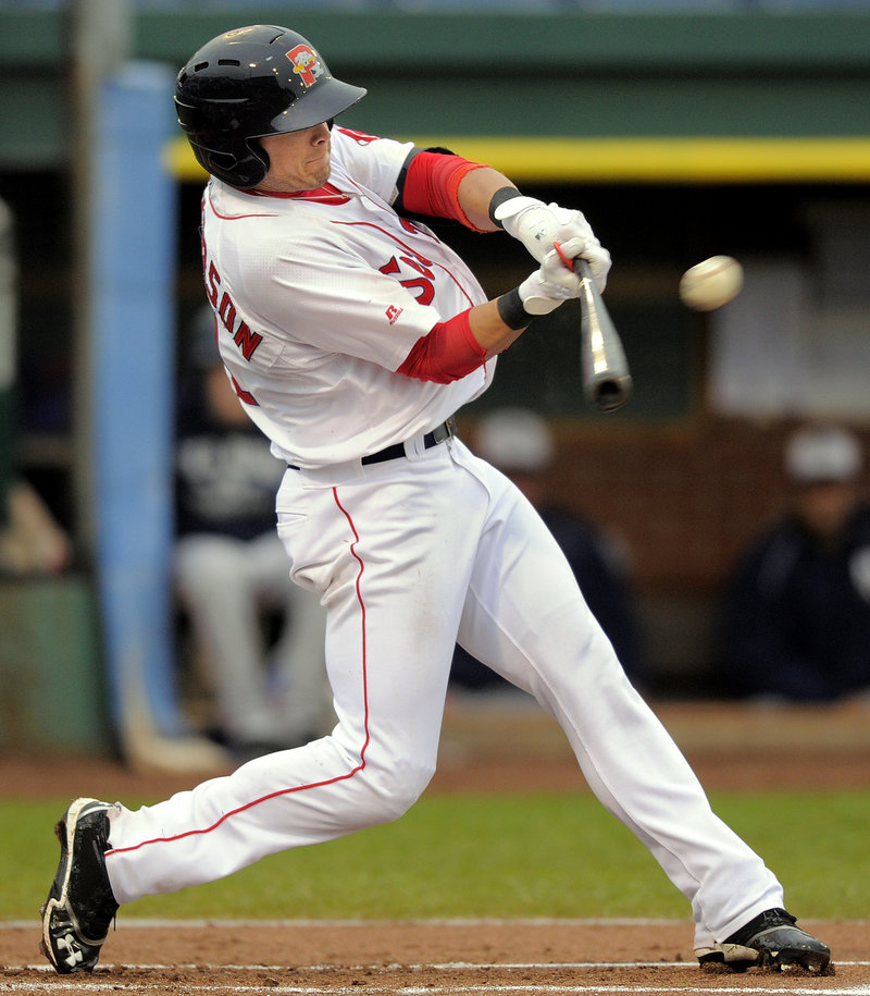 Portland's Shannon Wilkerson rips a leadoff double against the Manchester Fisher Cats on Tuesday at Hadlock Field. The Sea Dogs went on to win, 5-3.