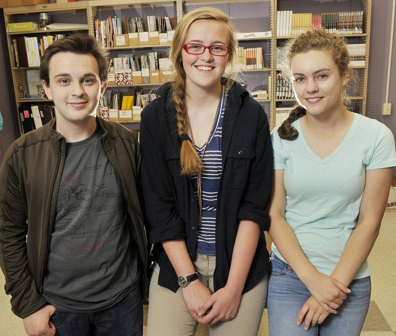 Freeport High School juniors, from left, Dalton Chapman, Katie McClellan and Shelby Sawyer were the top three vote-getters out of 22 students for their proposed new mottoes, which will be presented to the Town Council.