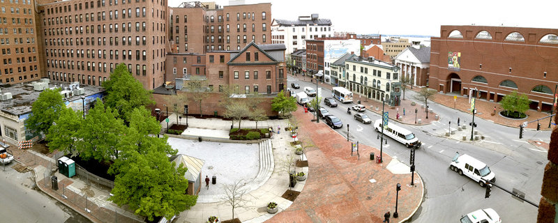 Congress Square Plaza, across from the Portland Museum of Art at right and the renamed Westin Portland Harborview Hotel at far left, is located at a key intersection of the city, but many agree it is not a successful or well-maintained space.