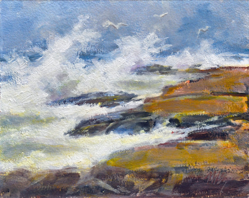 """Storm Surf,"" an oil painting by Byrom, who makes hundreds of paintings a year."