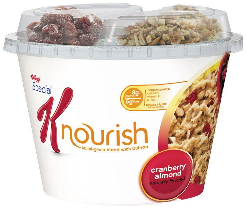 """Photo provided by Kellogg's shows Special K Nourish, expected to hit stores in July. Kellogg Co. is building on its biggest moneymaker even further with the """"hot cereal"""" that's made with quinoa and other grains."""