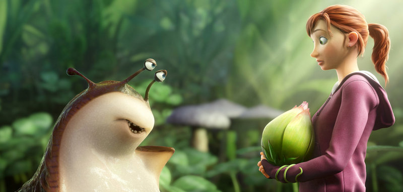"Mub, voiced by Aziz Ansari, left, and M.K., voiced by Amanda Seyfried, in a scene from ""Epic."""