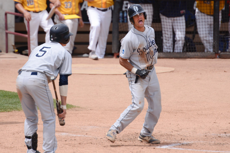 Anthony Pisani celebrates after scoring the game's first run on a single by Sam Dexter in the third.