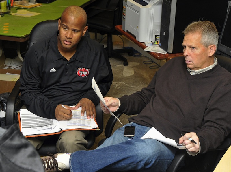 In this 2009 file photo, Danny Ainge, right, the president of basketball operations for the Boston Celtics, listens with Randy Livingston, then-assistant coach with the Maine Red Claws during the D-League draft. Ainge's search to replace departing Celtics coach Doc Rivers began Tuesday, June 25, 2013.