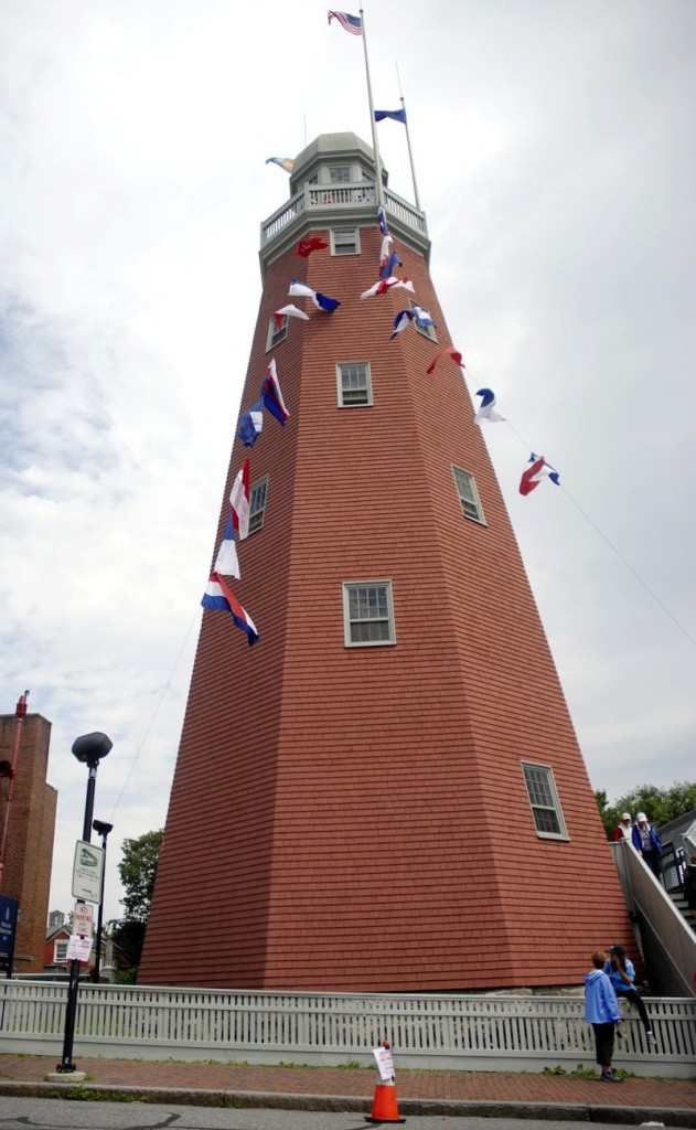 Visitors exit the Portland Observatory Museum on Flag Day in 2010. Admission to the historic Portland Observatory on Congress Street will be free on Friday, June 14, 2013 in honor of Flag Day.