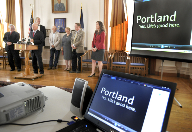 Portland Mayor Michael Brennan speaks during the unveiling of the city's new slogan,