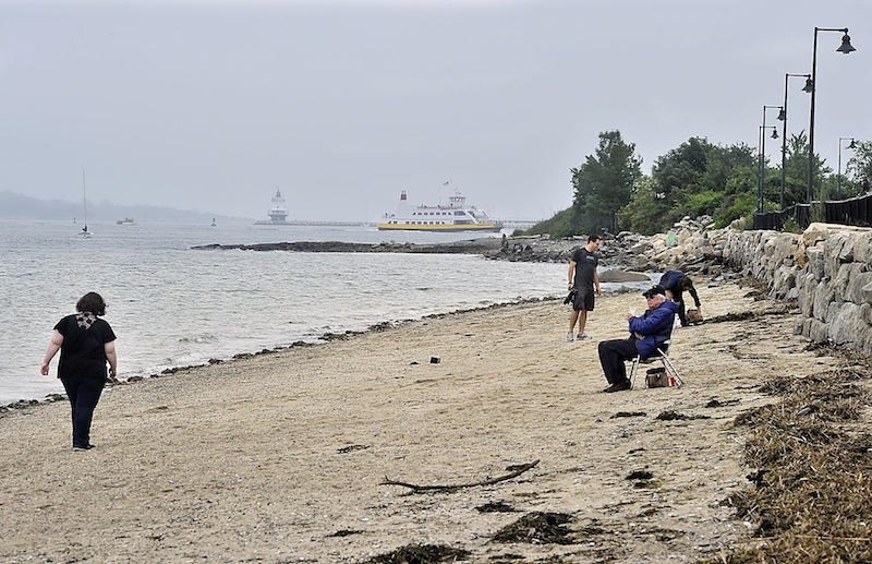 People enjoy East End Beach in Portland on Thursday, June 27, 2013 as a Casco Bay Ferry passes in the background. Maine has sunk to 27th on the list of 30 coastal states that are rated by the Natural Resources Defense Council for the water quality of their beaches.