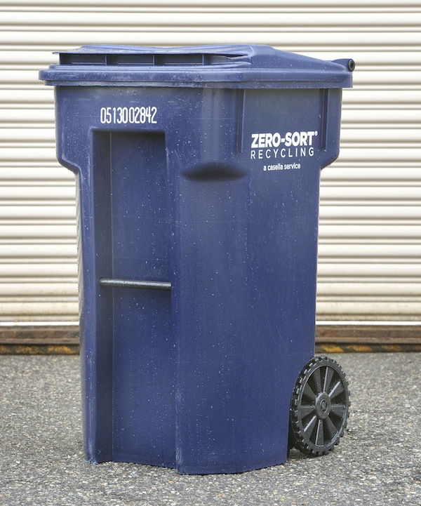 One of the new recycling bins Biddeford residents will start using next week.