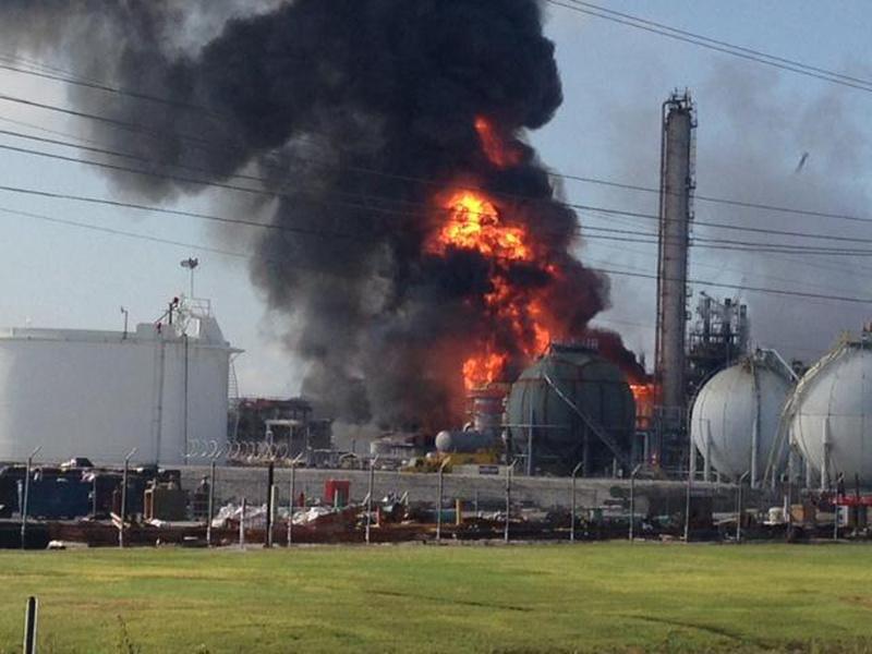 Fire follows an explosion at The Williams Companies Inc. plant in Geismar, La., on Thursday.