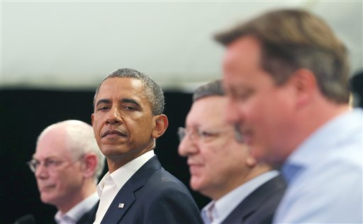 From right, Britain's Prime Minister David Cameron, European Commission President Jose Manuel Barroso, U.S. President Barack Obama and European Council President Herman Van Rompuy attend a media conference regarding EU-US trade at the G-8 summit in Enniskillen, Northern Ireland, on Monday.