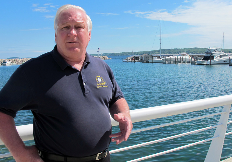 Steve Libert, president of Great Lakes Exploration Group, stands near the Traverse City, Mich., marina on Lake Michigan. On Saturday, Libert will lead a diving expedition to northern Lake Michigan to try to determine whether timbers he found while diving in 2001 are what remain of 17th-century French explorer La Salle's legendary ship Griffin.