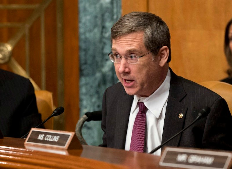 In this June 6, 2013 file photo, Sen. Mark Kirk, R-Ill., speaks during a Senate Appropriations subcommittee hearing in Washington. Kirk said Thursday, June 20, 2013, he's been working with colleagues to craft immigration reform that's gaining momentum in the Senate. He says the measure will secure the U.S. border to the south and create a