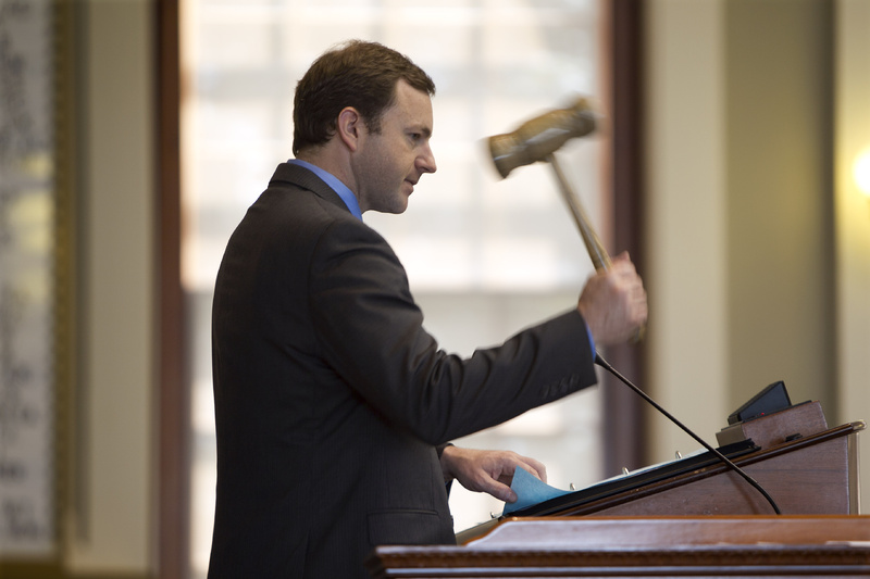 Speaker of the House Mark Eves, D-North Berwick, swings the gavel during a session Thursday at the State House in Augusta.