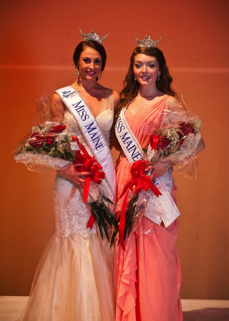 Kristin Korda, 21, left is the new Miss Maine 2013. Daphne Ellis, right, won the title of Miss Maine's Outstanding Teen.