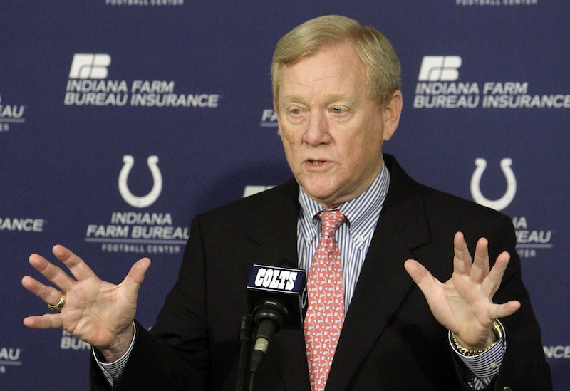 In this April 21, 2010 file photo, Indianapolis Colts' Bill Polian responds to a question during a news conference in Indianapolis. Polian, who built the Bills, Panthers and Colts into Super Bowl teams as one of the NFL's most successful general managers and team presidents, strongly maintains that the league's vetting process is solid. (AP Photo/Darron Cummings, File)