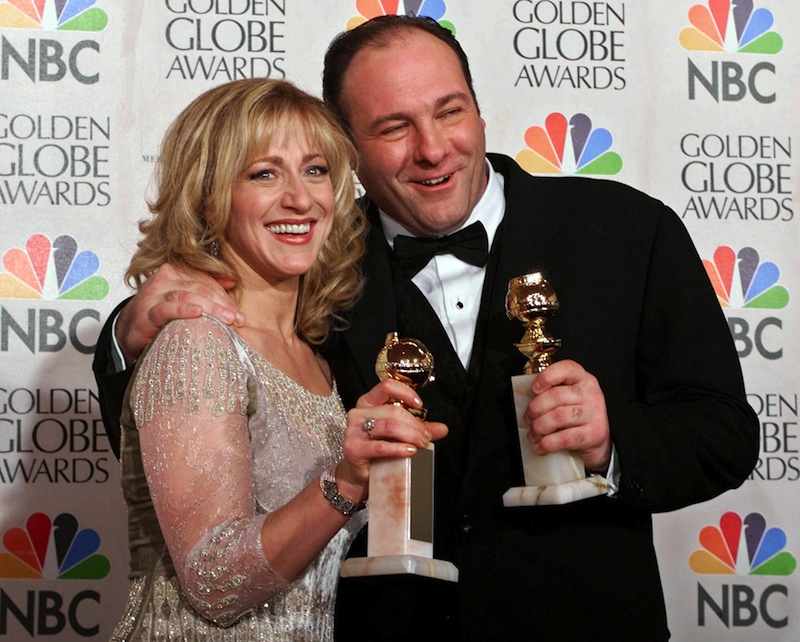 his Jan. 23, 2000 file photo shows actors Edie Falco, left, and James Gandolfini with their awards for best performance by an actress and actor in a dramatic televison series for
