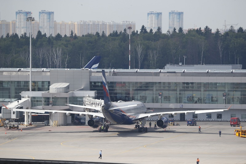 The Aeroflot Airbus A330 plane that was to carry National Security Agency leaker Edward Snowden on a flight to Havana, Cuba, parked at the gates at Sheremetyevo airport, Moscow, Monday, June 24, 2013. Snowden, who arrived in Moscow on Sunday from Hong Kong, booked a seat for the flight to Cuba, but he was not seen on the plane. (AP Photo/ Sergei Ivanov)