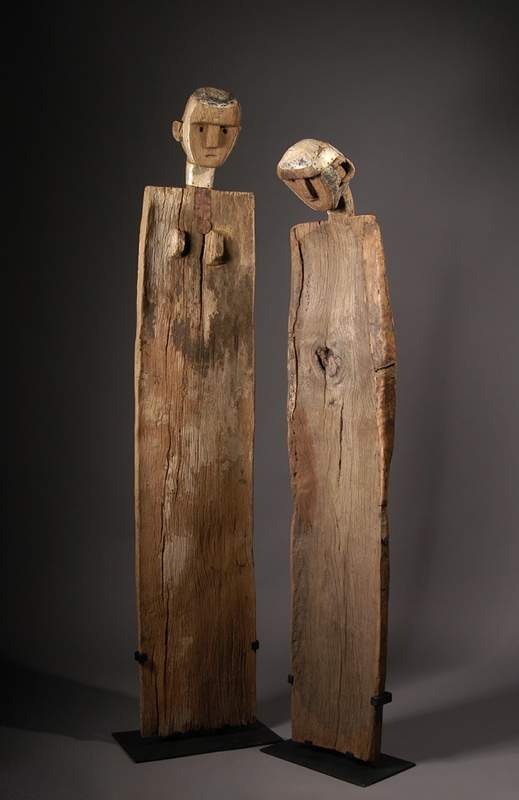 "From Sukuma, Tanzania, ""Guardian Post,"" circa 1900, wood, metal and hide."