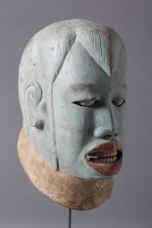 "From Makonde, Tanzania, ""Mask, foreigner,"" no date, wood and pigment."