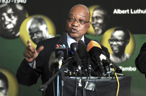 South African President Jacob Zuma addresses journalists in Johannesburg Monday. Zuma said that Nelson Mandela's condition in a Pretoria hospital remained critical for a second straight day and described the stricken anti-apartheid hero as being