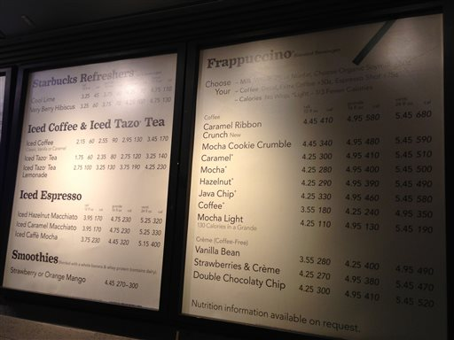 A menu board showing calorie counts hangs at a Starbucks in New York on Monday. The Seattle-based coffee chain says it will start posting calorie counts on menu boards nationwide next week, ahead of a federal regulation that would require it to do so.