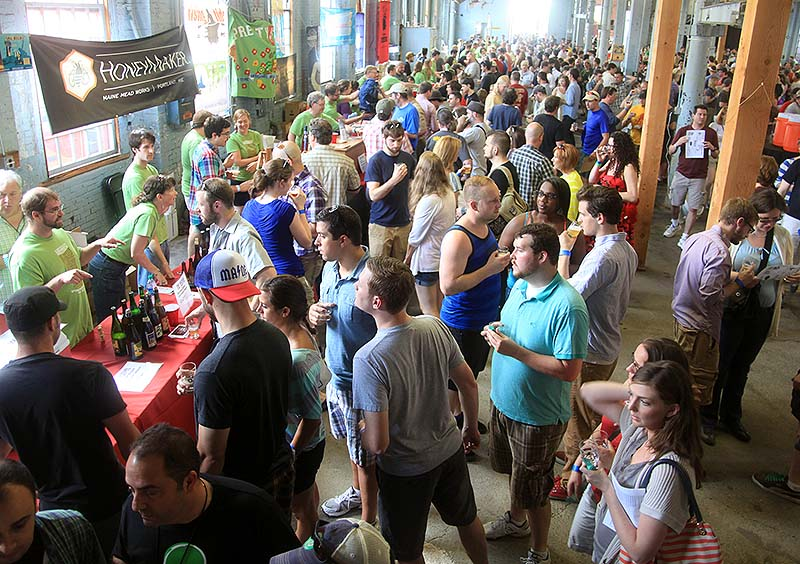 A crowd gathers at The Festival at The Portland Company on Saturday.