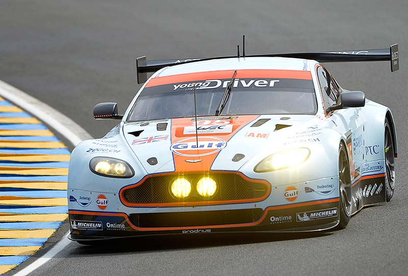 The Aston Martin Vantage GTE driven by Allan Simonsen of Denmark, is seen in action during the 90th 24-hour Le Mans endurance race, in Le Mans, western France on Saturday. Simonson crashed heavily at the Tertre Rouge on his fourth lap and died of his injuries while receiving treatment at the circuit medical center.