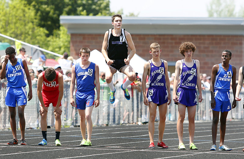 Jack Letellier of Marshwood was ready to go as the time approached for the 1,600-meter race to begin Saturday at the Class A state championships at Brewer. Photos by Tim Greenway/Staff Photographer Jack Letellier of Marshwood was ready to go as the time approached for the 1,600-meter race to begin Saturday at the Class A state championships at Brewer.