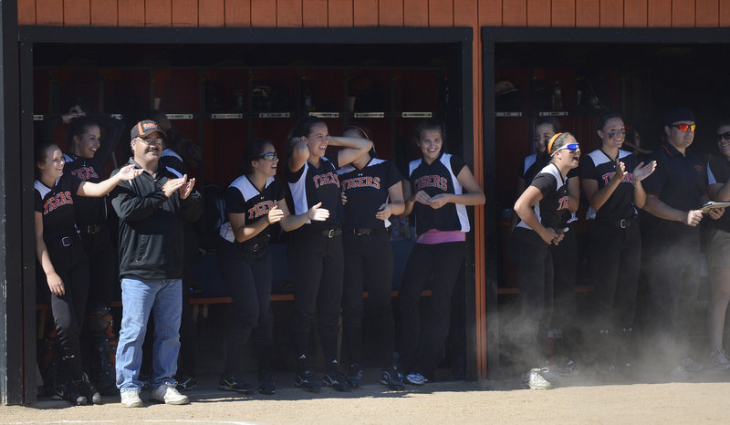 The Biddeford dugout likes the view in Tuesday's prelim playoff game at home against Massabesic, as the Tigers overcame an early deficit to roll along for a 14-5 Western Class A win. Biddeford will now play No. 2 South Portland in a quarterfinal on Thursday.