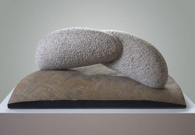 """""""Form of Memory,"""" granite and basalt, by Kazumi Hoshino."""