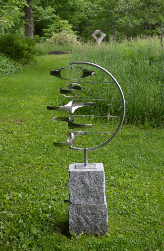 """""""Five Gyres in C,"""" stainless steel by George Sherwood, from """"Sculpture for the Home and Gardens,"""" the exhibition continuing through June 30 at June LaCombe Sculpture, Hawk Ridge Farm, Pownal."""
